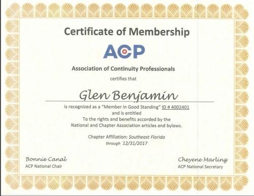 ACP Certificate of Membership - Glen Benjamin_1